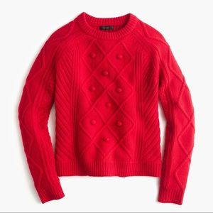 New Jcrew red pom pom cable sweater